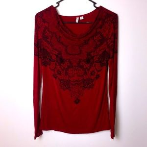 Cato red paisley very soft top tee. …